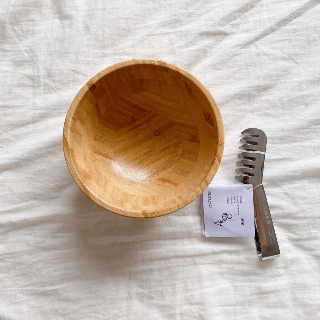 ikea(イケア)のサラダ用木製ボウル