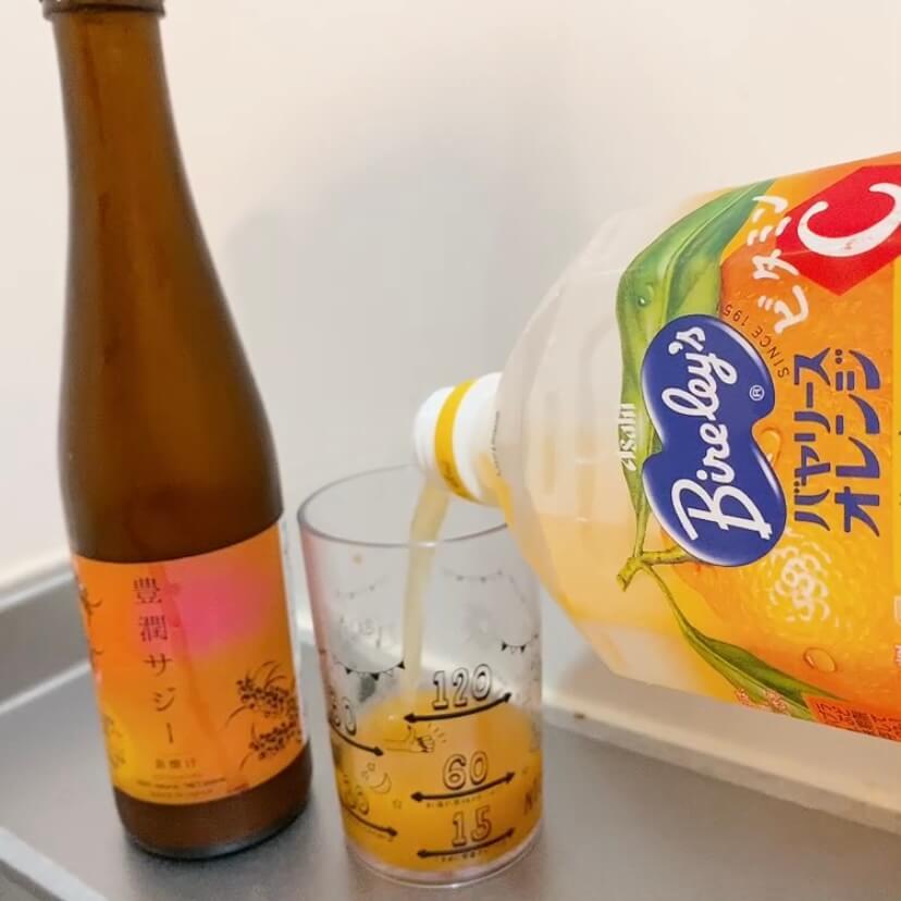 豊潤サジーのオレンジジュース割り