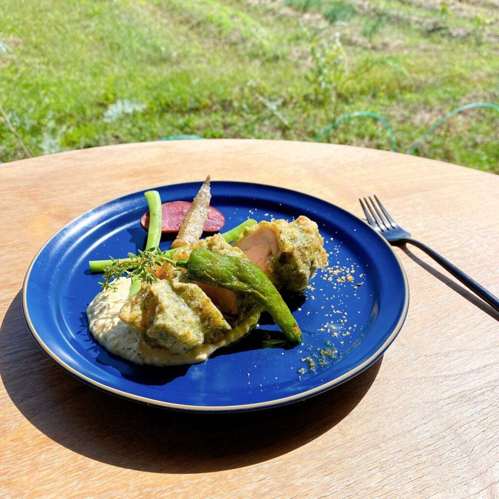 ミモザキッチンのランチメニュー 国産鶏もも肉の磯辺揚げ