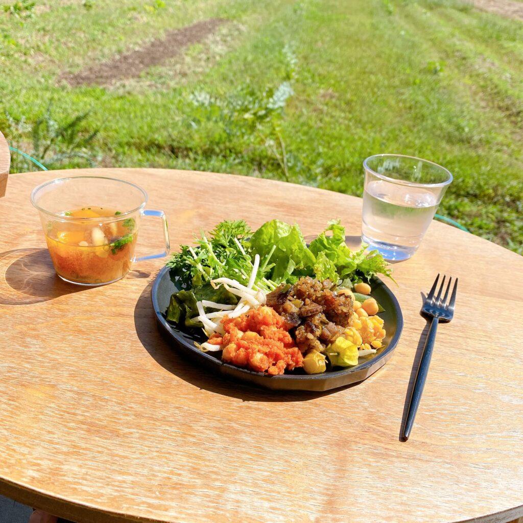 ミモザキッチンのランチメニュー 無農薬野菜ビュッフェと味噌汁